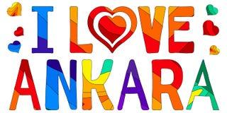 Kocham Ankara - śliczna stubarwna inskrypcja ilustracji