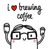 Kocham browarniana kawowa ręka rysującą ilustrację z barista chłopiec w szkłach z dwa filiżanka kawy minimalizmu dla karty royalty ilustracja