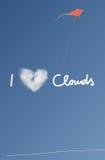 Kocham chmury kartę Fotografia Stock
