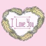 kocham cię Kartka z pozdrowieniami z ramą piórka Zdjęcie Stock