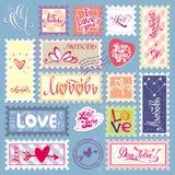 kocham cię obszyty dzień serc ilustraci s dwa valentine wektor znaczki Symbolu set Fotografia Stock