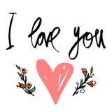 kocham cię Ręka rysujący typografia plakat Inspiracyjna i motywacyjna ręcznie pisany wycena Kreatywnie literowanie z sercem dla p ilustracji