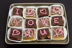 kocham cię czekolady Zdjęcia Stock