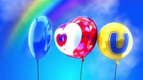 Kocham ciebie. Balony są w niebie z tęczą ilustracja wektor