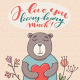 Kocham ciebie beary dużo, walentynki kartka z pozdrowieniami Fotografia Stock
