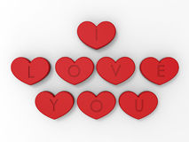 Kocham ciebie - 3D serca ilustracja Zdjęcia Royalty Free