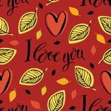 Kocham ciebie deseniowego. Czerwony tło royalty ilustracja