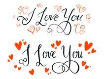 Kocham ciebie kaligrafia Zdjęcie Stock