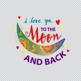 Kocham ciebie księżyc i popieram Fotografia Stock