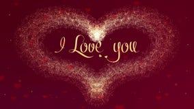 Kocham ciebie mi?o?ci wyznanie Walentynka dnia serce robi? z?oty plu?ni?cie pojawia? si? Wtedy rozprasza serce royalty ilustracja