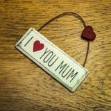 Kocham ciebie mum szyka podławy znak Zdjęcia Stock