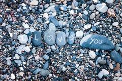 Kocham Ciebie nutowego na skałach Fotografia Stock