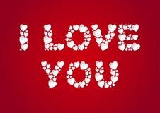 Kocham Ciebie piszę list mieszkanie kłaść z białymi wektoru papieru sercami na czerwonym tle ilustracji