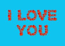 Kocham Ciebie piszę list mieszkanie kłaść z czerwonymi wektoru papieru sercami na błękitnym tle ilustracji
