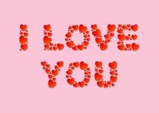 Kocham Ciebie piszę list mieszkanie kłaść z czerwonymi wektoru papieru sercami na różowym tle ilustracji