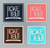 Kocham Ciebie pocztówki ustawiać ilustracji