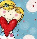 Kocham ciebie pocztówkowego Miłości ilustracja Śliczna dziewczyna z dużym sercem Zdjęcia Stock