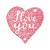 Kocham ciebie ręka pisać wycena w akwareli ręka rysującym sercu z kwiecistym ornamentem Ręcznie robiony walentynka dnia karta ilustracja wektor