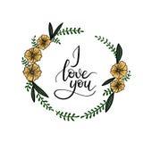 Kocham Ciebie ręki literowania kartka z pozdrowieniami Nowożytna kaligrafia Fotografia Stock
