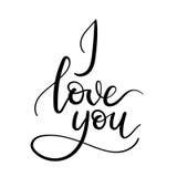 Kocham Ciebie ręki literowania kartka z pozdrowieniami Obraz Stock