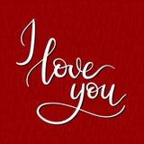 Kocham Ciebie ręki literowania kartka z pozdrowieniami Fotografia Stock