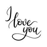Kocham Ciebie ręki literowania kartka z pozdrowieniami Zdjęcia Royalty Free