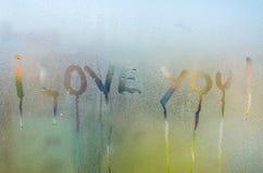 Kocham Ciebie tekst Fotografia Stock
