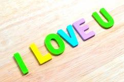 Kocham Ciebie tekst Zdjęcia Stock