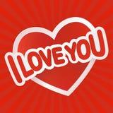 Kocham ciebie tekst na czerwonym sercu Zdjęcia Stock