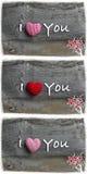 Kocham Ciebie walentynka dnia wiadomości dekoraci Czerwoni lampasy Fabri Obraz Stock