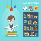 Kocham Czytelniczego pojęcie ilustracja wektor