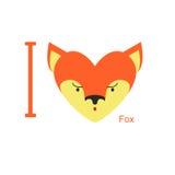 Kocham Fox Śliczni kierowniczy lisy w kształcie serce zwierzę ilustracja wektor
