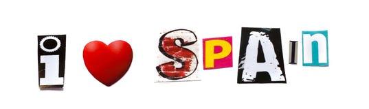 ` kocham Hiszpania ` zwrot na białym tle Fotografia Stock