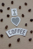 Kocham kawowego literowanie z adra kawa i serce na ca Fotografia Stock