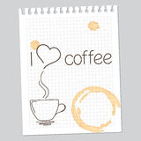 Kocham kawy notatkę Zdjęcie Royalty Free