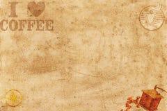 Kocham kawy papierowego tło zdjęcie stock