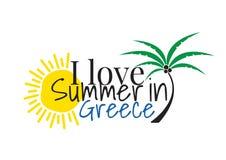 Kocham lato w Grecja logo, Formułuje projekt, Ścienni Decals, sztuka wystrój odizolowywający na białym tle royalty ilustracja