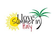 Kocham lato w Włochy, Formułuje projekt, Ścienni Decals, sztuka wystrój odizolowywający na białym tle ilustracji