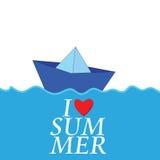 Kocham lato z papierowym łódkowatym koloru wektorem Obraz Royalty Free