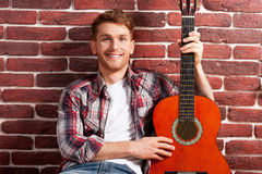 Kocham mój gitarę Obraz Royalty Free
