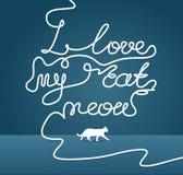Kocham mój kota meow podpis Ilustracja Wektor