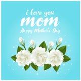 Kocham mama macierzystego dnia tekst i jaśminowego kwiatu na błękitnego tła wektorowym projekcie Fotografia Royalty Free