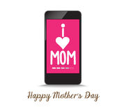 Kocham matki telefonem Zdjęcie Royalty Free