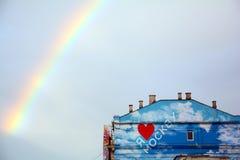 Kocham Moscow Kolorów graffiti w Moskwa centrum miasta Obrazy Stock