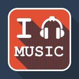 Kocham muzyczną płaską retro rocznik ikonę Fotografia Royalty Free