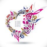 Kocham muzycznego szablon w czerwieni menchiach i fiołków kolorach wirujących wewnątrz, Obrazy Royalty Free