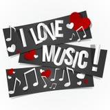 Kocham Muzycznych sztandary Fotografia Stock