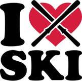 Kocham Narciarskiej narciarki Zdjęcia Stock