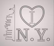 Kocham Nowy Jork linię horyzontu i punkt zwrotny sylwetkę, czarny i biały projekt, wektorowa ilustracja Fotografia Royalty Free