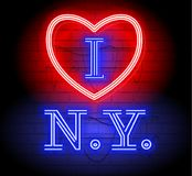 Kocham NY list dla projekta i dekoraci Neonowa stylu znaka ilustracja Nowy Jork z kierowym logem Ilustracja dla t koszula printi Fotografia Royalty Free
